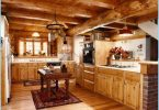 Kitchen in a wooden house - a modern design at the cottage
