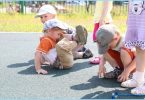 Rubber crumb coating for children's playgrounds