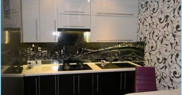 Design black and white kitchen in apartment